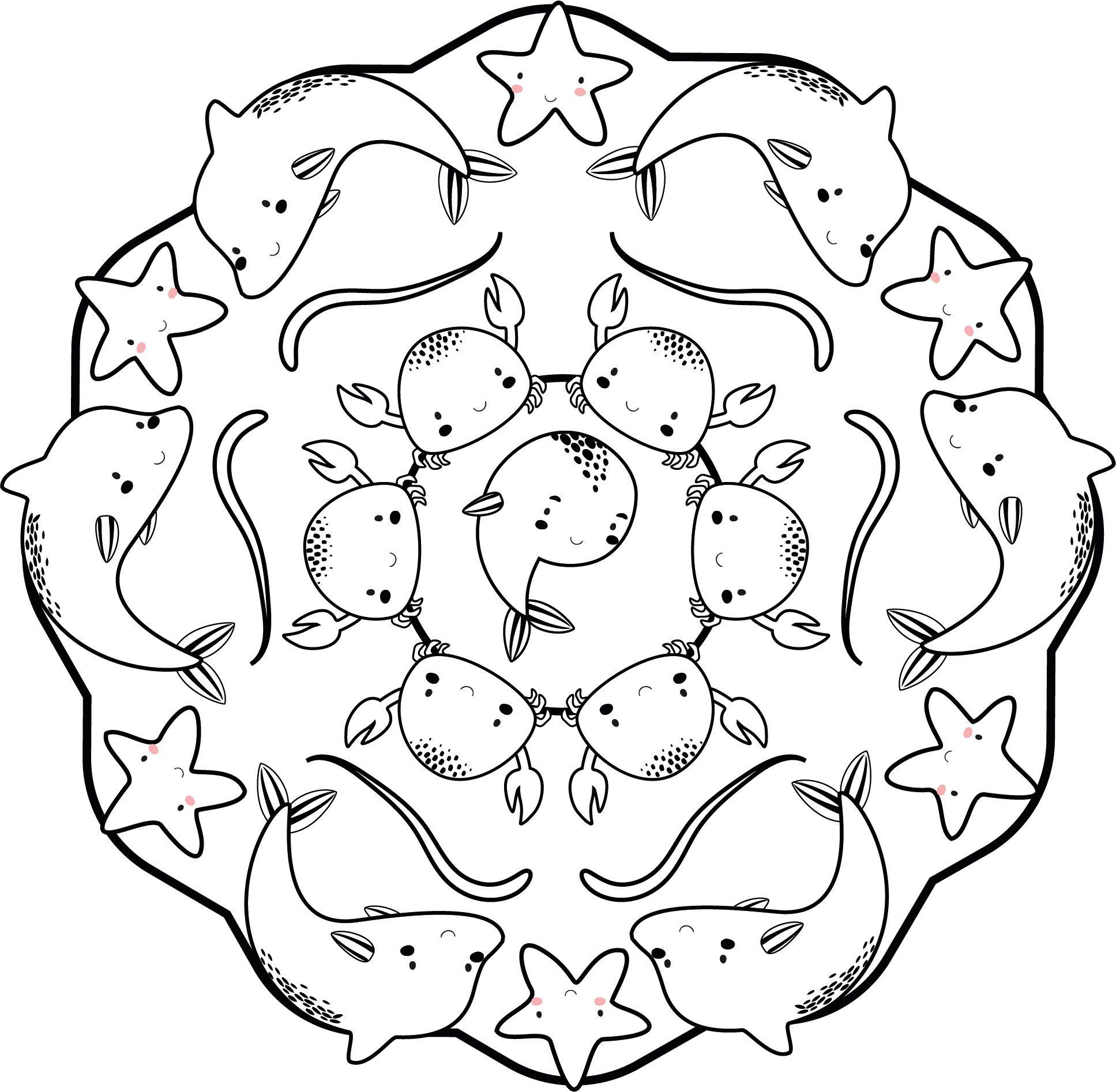 Mandala Animales Del Mar Mandalas Para Ninos Mandalas Para