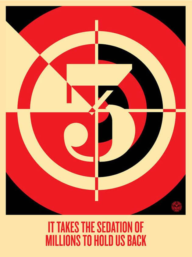 """OBEY Giant Shepard Fairey /""""MAYDAY FLAG/"""" Small S//N Art Poster Print"""