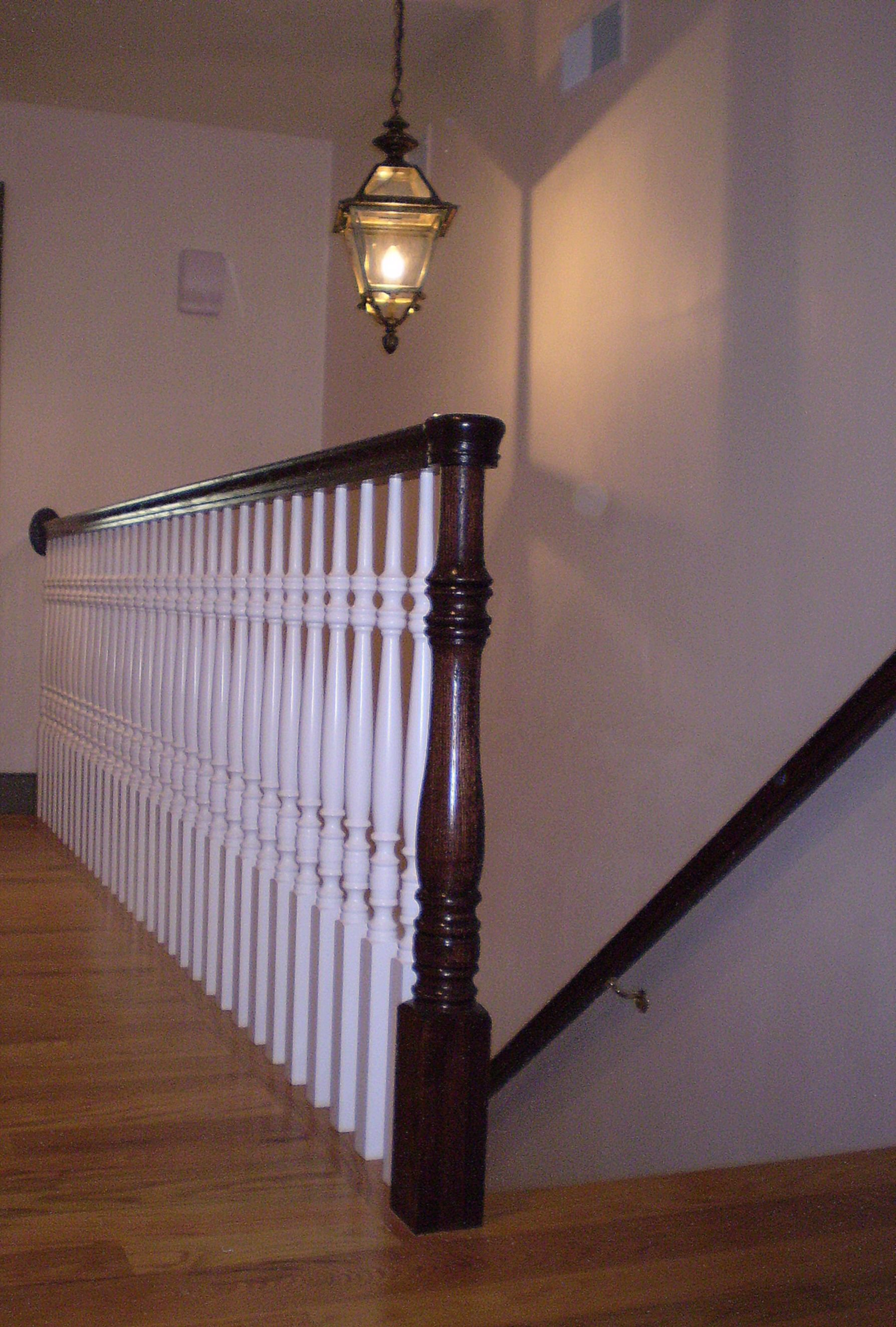 Pre Finished Handrail And Newel Post With Primed Balusters.