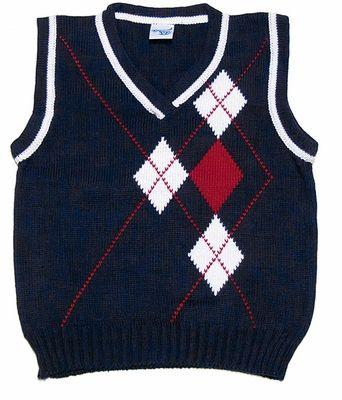 Glorimont Boys Navy Blue V-Neck Sweater Vest with White / Red Argyle Design  | Sweaters, Sweater vest, Half sweater
