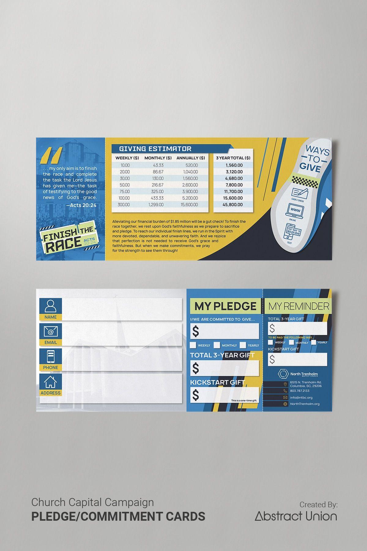 3 5 X 8 5 Rip Pledge Cards Commitment Card Design Church Capital Campaign Card Design Church Graphic Design