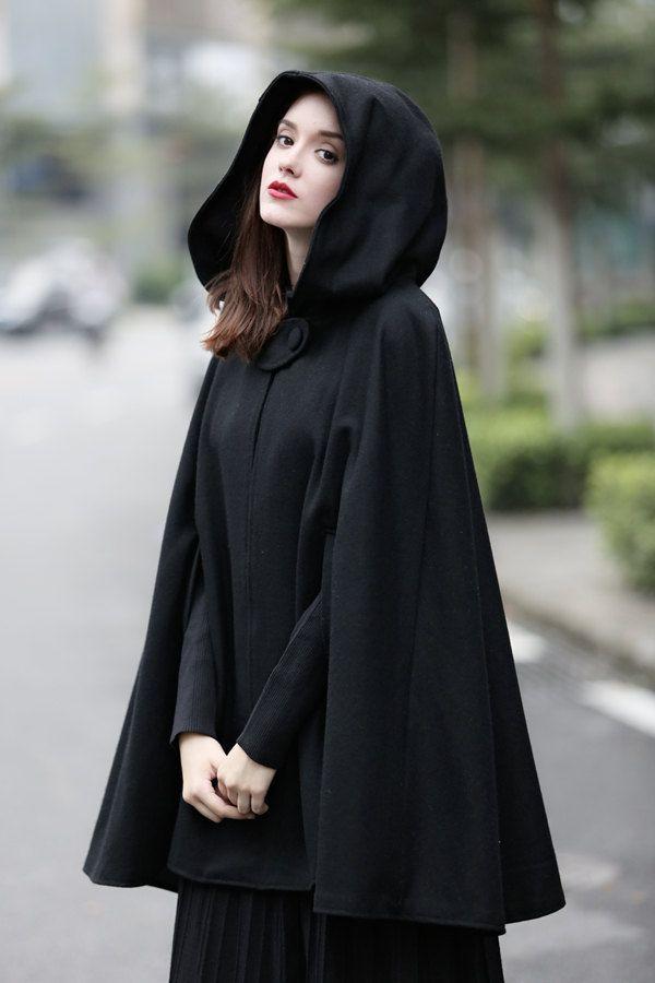 Black Hooded Wool Coat Cloak Cape, Womens Black Wool Coats Uk