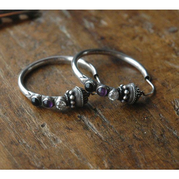 Sterling Silver Hoop Earrings, Purple Amethyst, CZ, and Black Onyx (€66) via Polyvore featuring jewelry, earrings, black onyx hoop earrings, cubic zirconia hoop earrings, purple jewelry, cz earrings e hoop earrings