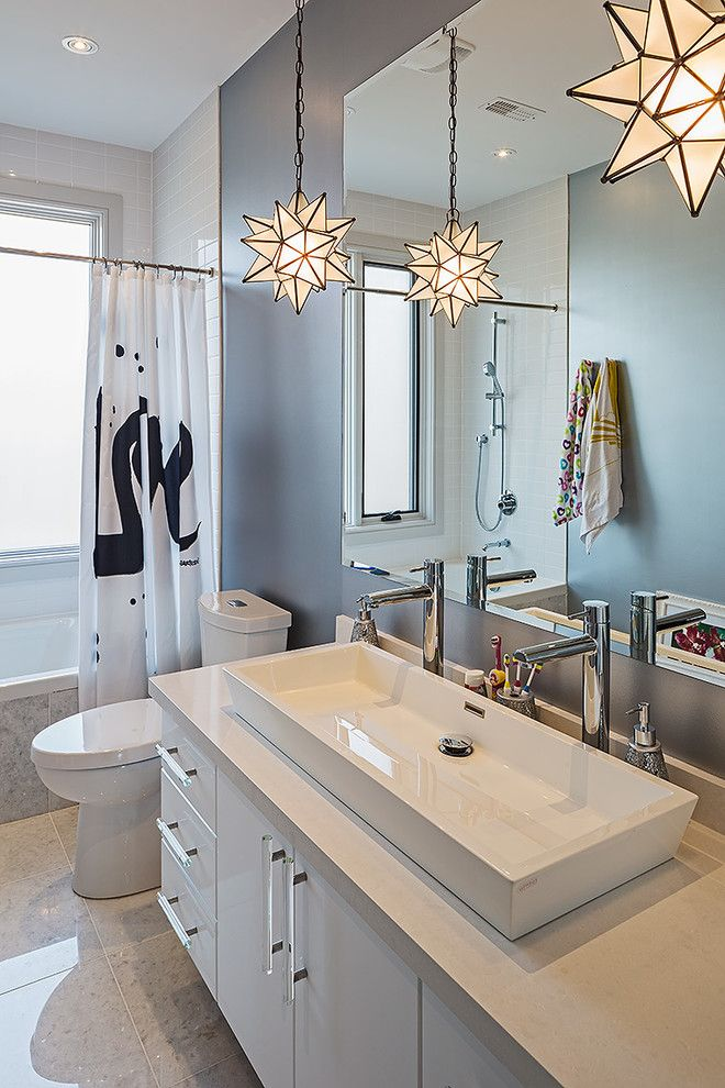 Fabulous Beige Toilet And Sinks Ideas Modern Double Sink Vanity Design For Modern Bathroom With Beige Countertop Black And White Gray Floor Eclectic Bathroom Glass Star Light