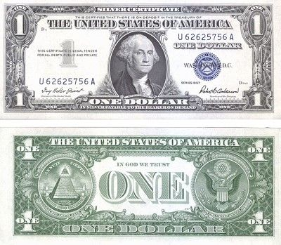 1957 ONE DOLLAR SILVER CERTIFICATE GEM UNCIRCULATED