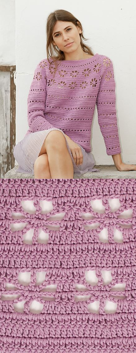 Free Crochet Pattern for a Daisy Chain Sweater -   16 knitting and crochet Patterns sweater coats