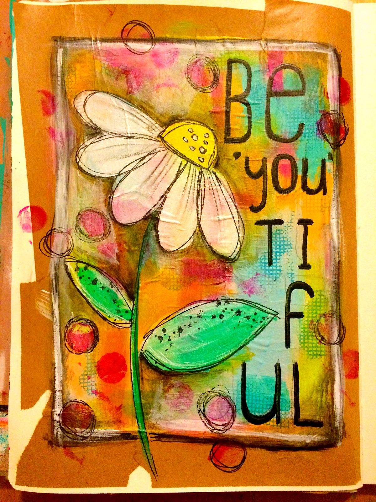 Be'you'tiful art journal page #artjournalmixedmediainspiration