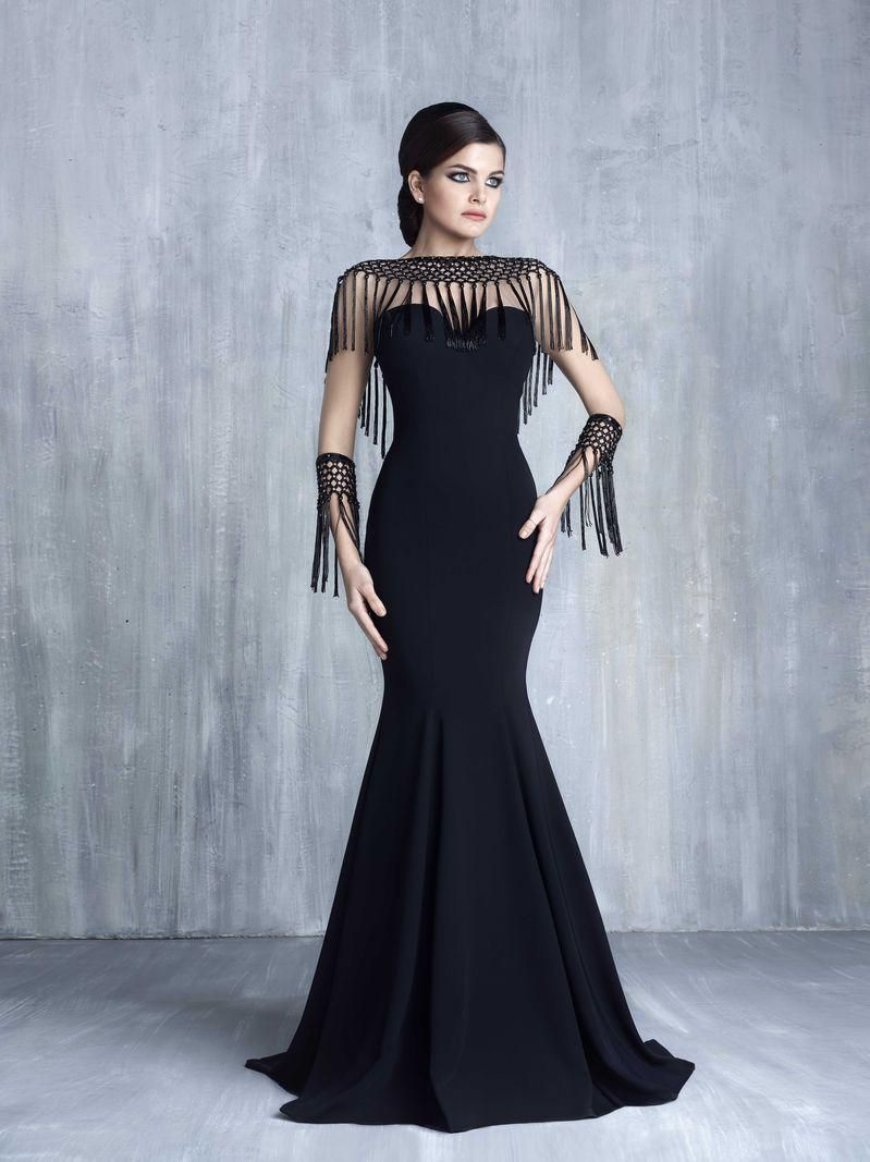 New Hot Vintage Black Formal Mermaid Evening Dresses With Tassel ...