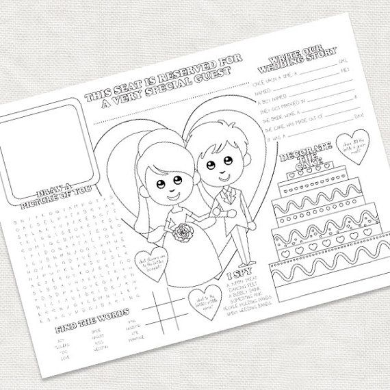 Printable Kids Wedding Activity Placemat Childrens Reception Coloring Colouring Page Activity