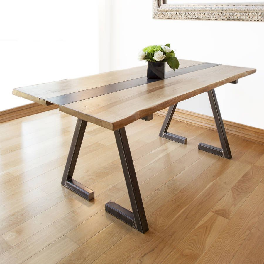 Z Kollektion Oak And Iron Dining Table Dining Table With Bench Metal Dining Table Modern Oak Dining Tables