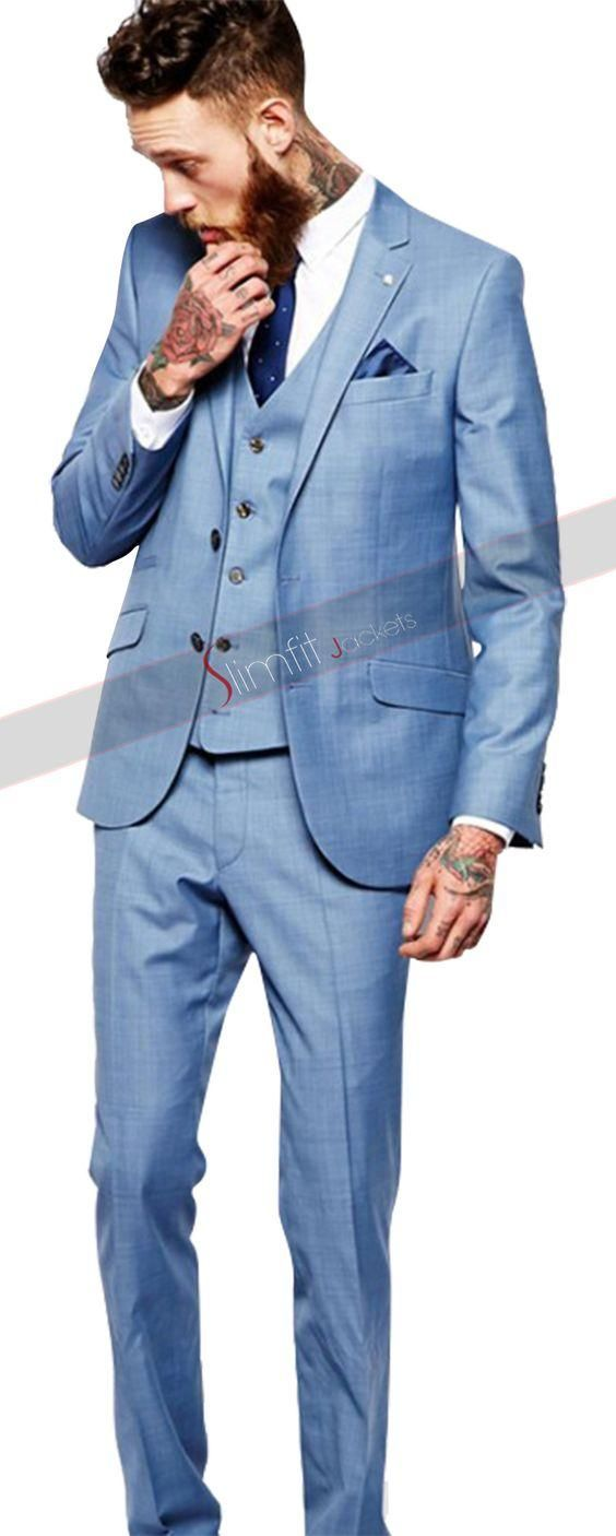2017 Latest Coat Pant DesignsLight Blue Custom Wedding Suits for Men ...