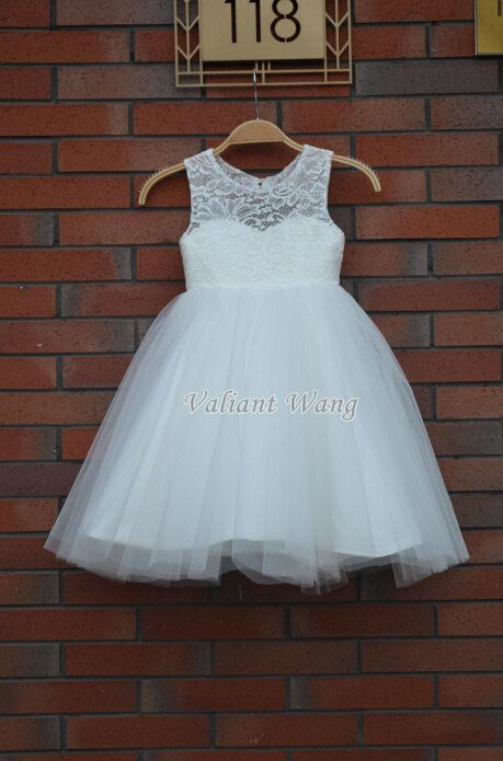 Lovely Ivory Lace Flower Girl Dress Wedding Baby Girls Dress Tulle ...