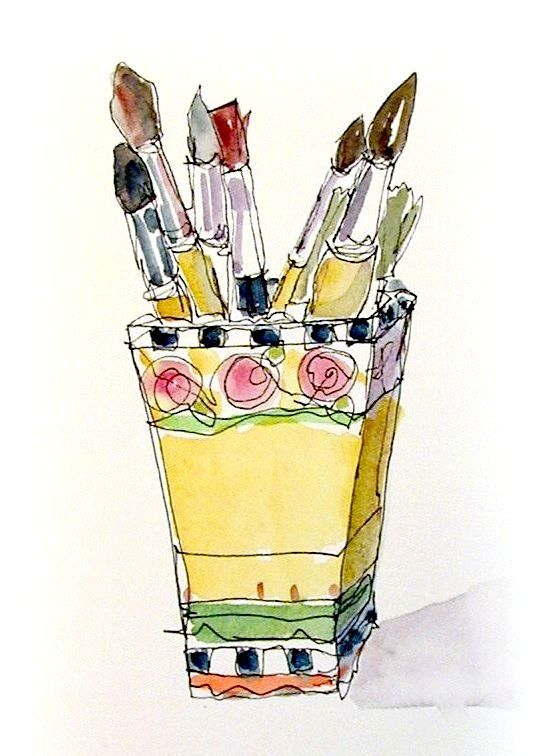 Watercolor Paint Brushes In A Pot With Images Watercolor