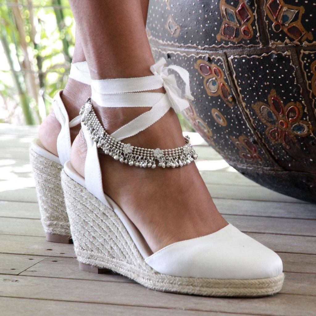 Gypsy queen espadrille wedge ivory