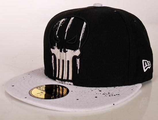 Punisher Fill Spill 59Fifty Fitted Baseball Cap by MARVEL x NEW ERA ... ccffb6e0686
