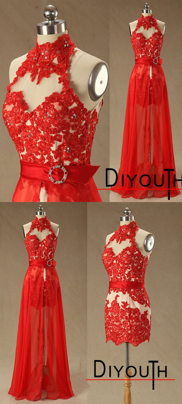 Diyouth high neck open keyhole back red lace short dress with