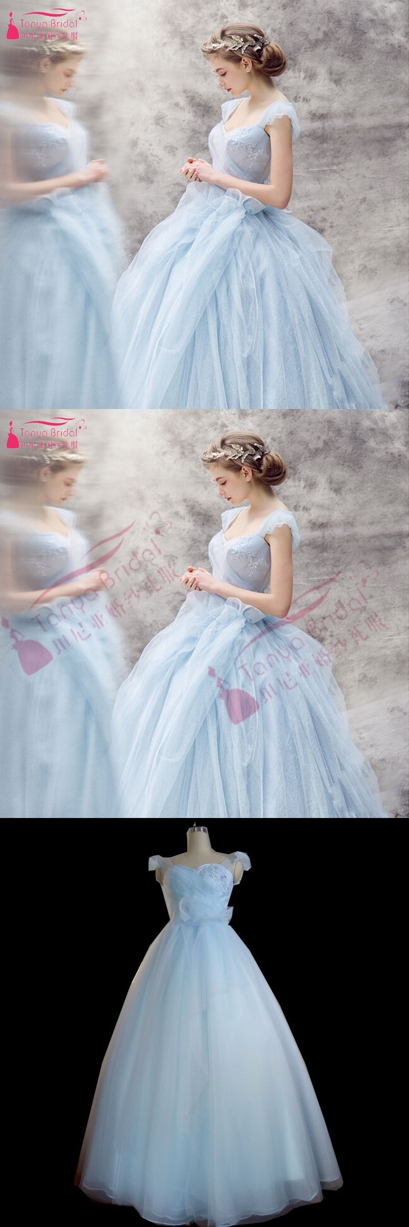 Simple light blue wedding dresses tulle cinderella dress