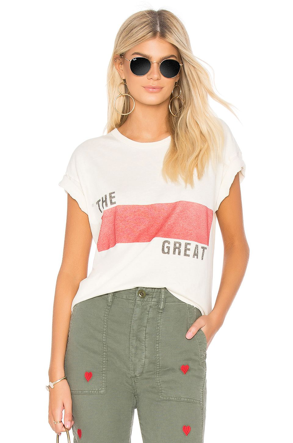 c9eeb6692328 The Great The Boxy Crew Tee in Washed White With Banner Graphic ...