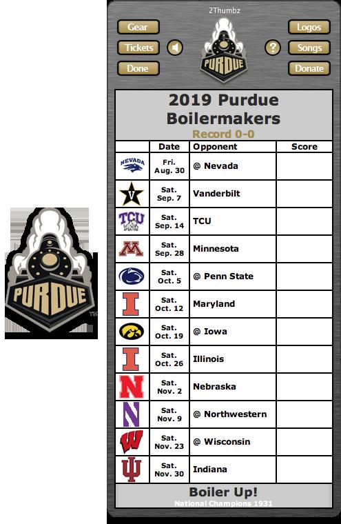 2019 Purdue Boilermakers Football Schedule Dashboard Widget