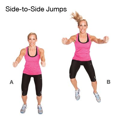Side-to-Side Jumps. How to do it: Stand with your feet hip ...