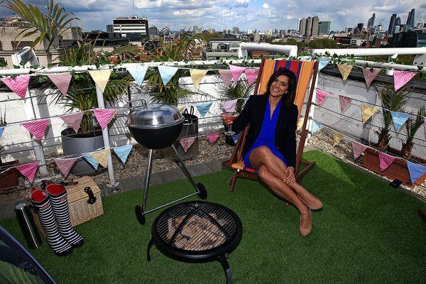 Weather presenter Lucy Verasamy is seen at the Grange Hotel Rooftop Terrace in London to launch Amazon's #NowItsSummer store on April 25, 2017 in London, England.