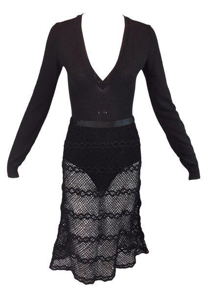 e744ded2b3 F W 1996 Runway Dolce   Gabbana Black Plunging Bodysuit   Knit Fishnet  Skirt Set