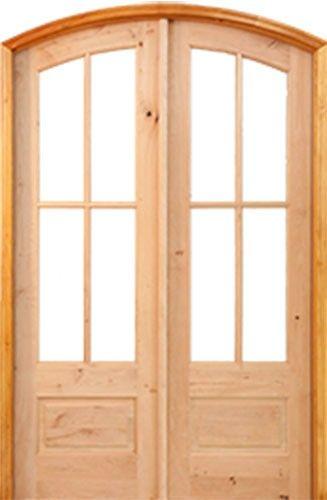 8 0 Preston 4 Lite Ig Knotty Alder Arch Top Prehung Double Wood Door Unit Knotty Alder Doors Exterior Door Styles Wood Doors