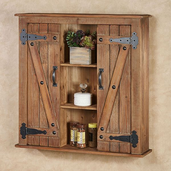 Best Andover Plank Style Rustic Wooden Wall Storage Cabinet 640 x 480
