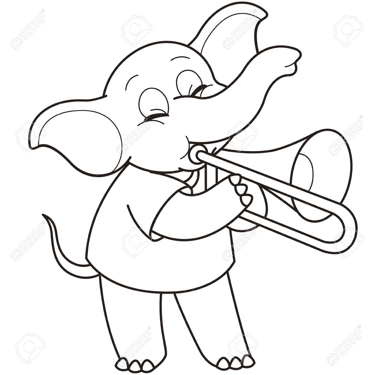 Stock Vector Education Teacher Ideas Cartoon Elephant Elephants Playing Trombone [ 1300 x 1300 Pixel ]