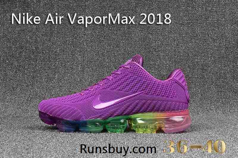 46a4904c028079 Nike Air VaporMax 2018 KPU Purple Rainbow Sole Women Shoes