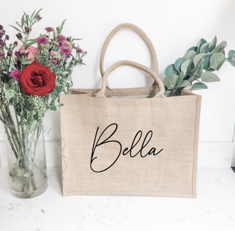 Personalised Tote Bag Bride To Be Wedding Bride Maid Hen Party Jute Base Canvas