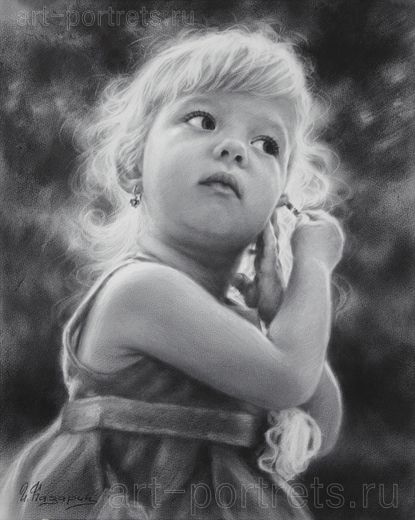 Нарисовать детский портрет по вашему фото в 2020 г ...