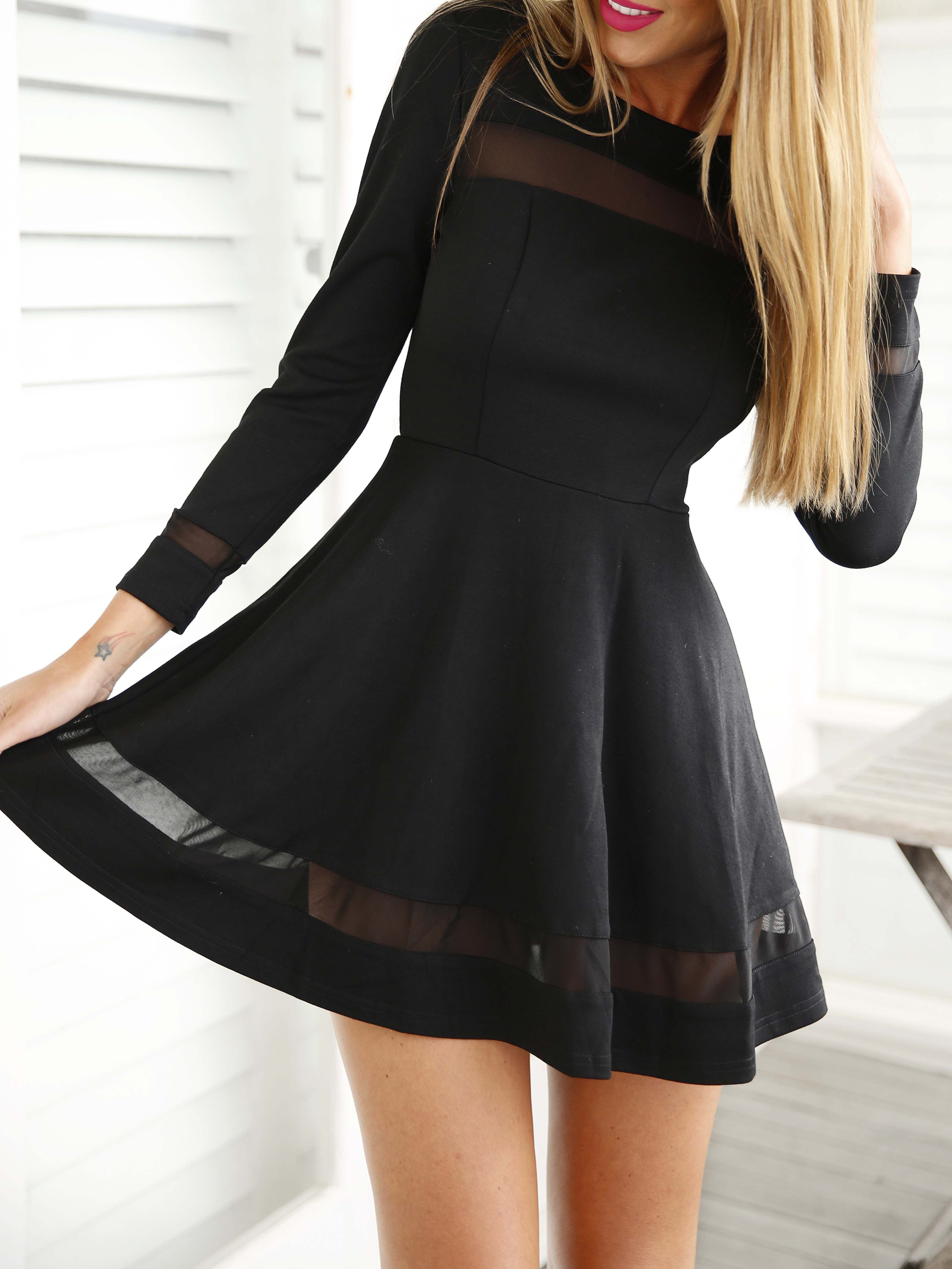 Black long sleeve contrast mesh yoke flare dress amazing dresses
