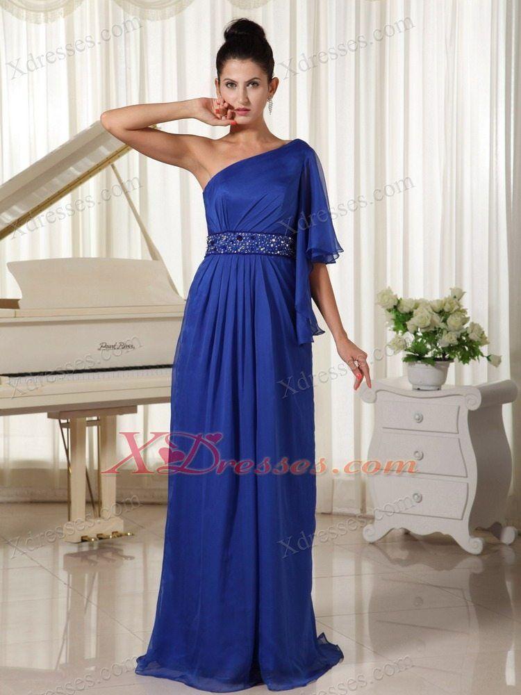 1 shoulder maxi dress royal blue