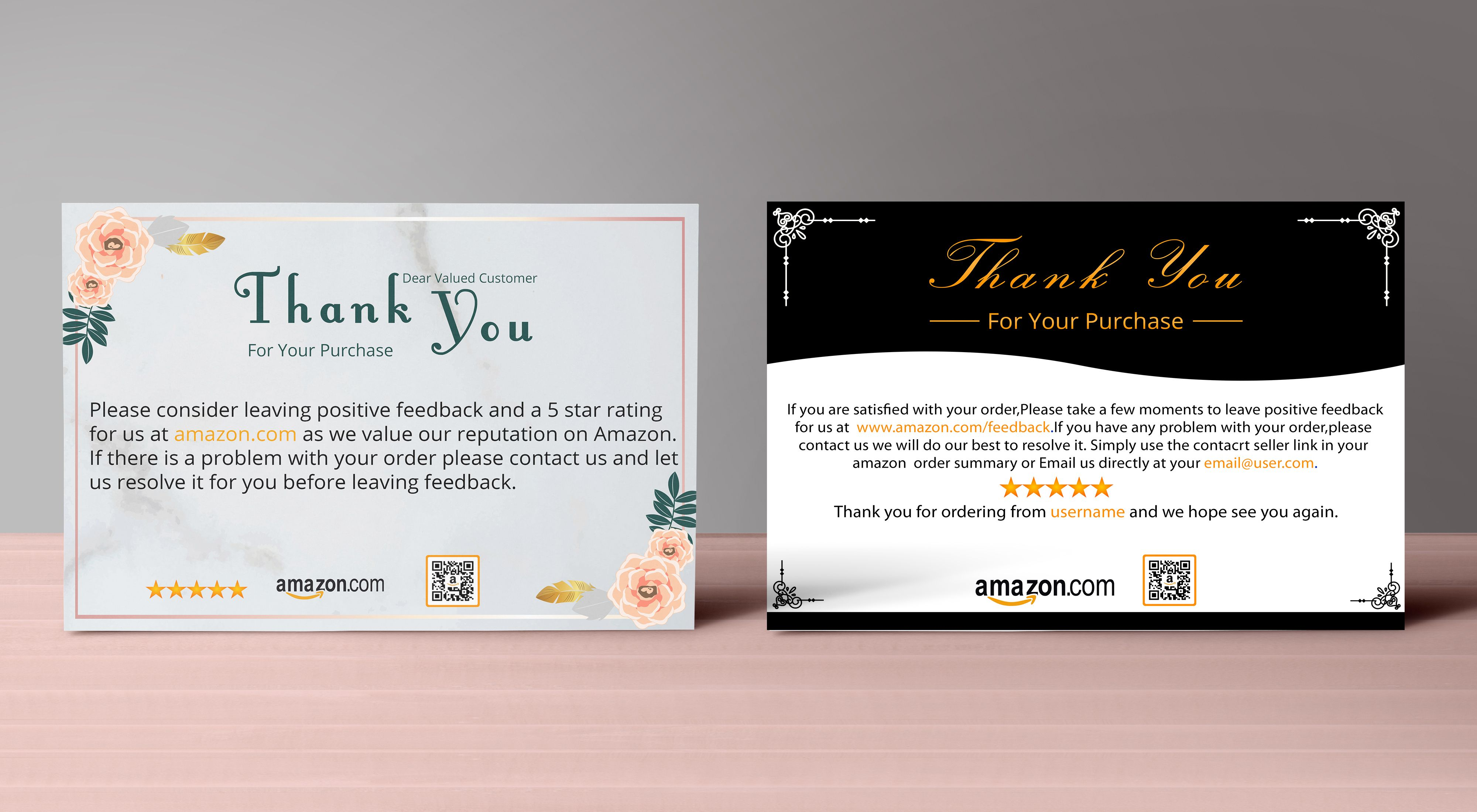 Sadiasultanasa2 I Will Design Amazon Thank You Card Product Insert Package Insert Postcards For 5 On Fiverr Com Thank You Card Design Thank You Cards Thank You Card Template