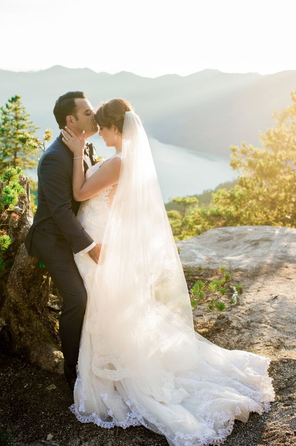 How pretty is the sun filtering through this chiffon veil? http://www.stylemepretty.com/canada-weddings/british-columbia/2015/09/04/romantic-mountaintop-wedding-inspiration/ | Photography: Belluxe Photography - http://www.belluxephotography.com/