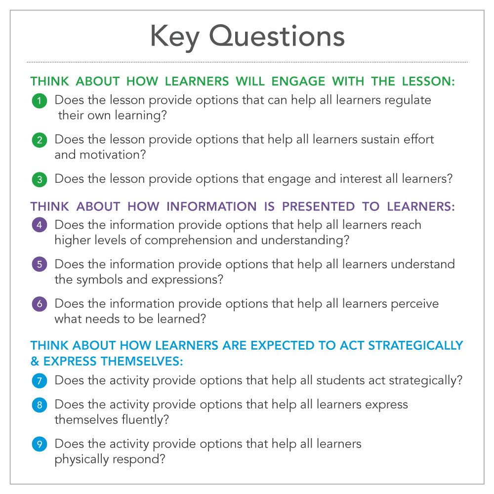 Key questions related to the udl guidelines udl - Universal design for learning lesson plans ...
