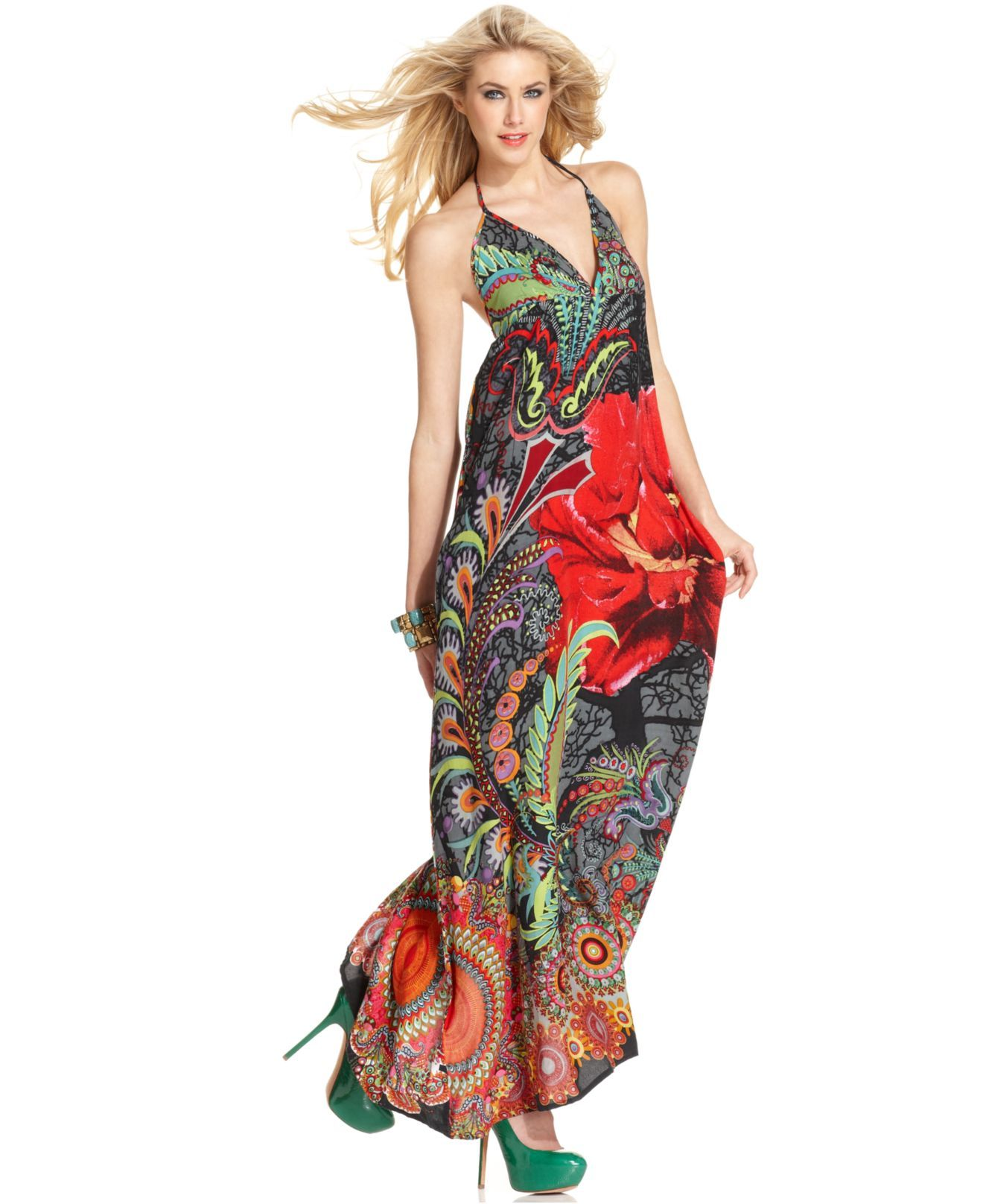 0b2afd6a96ebd Desigual Dress, Sleeveless V-Neck Halter Floral-Printed Maxi - Womens  Dresses - Macy's