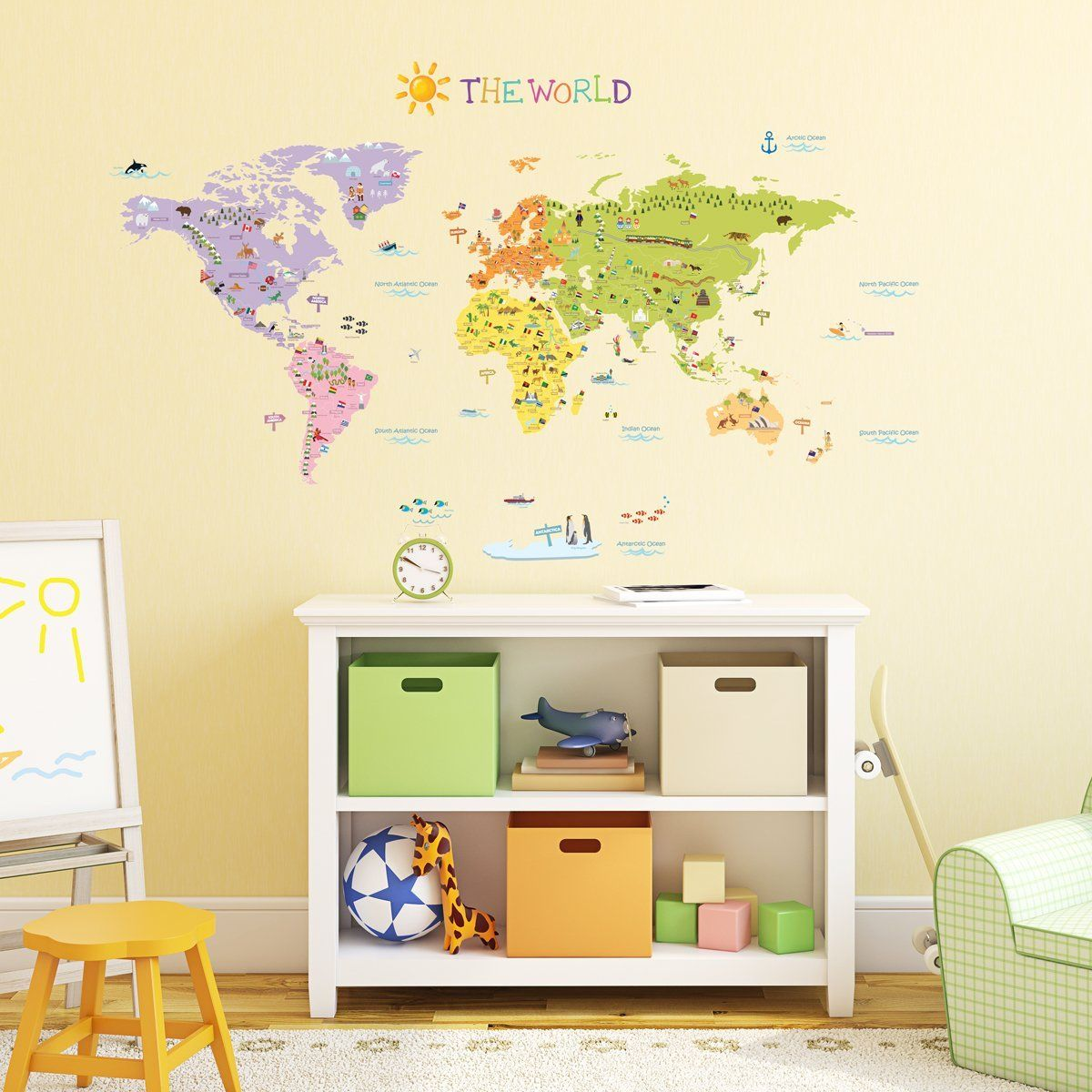 Decowall, DMT-1306, The World Map peel & stick wall decals stickers ...