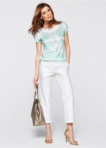 46f5941a552f Κοντομάνικη μπλούζα με ασημί στάμπα Σομόν Λευκό με στάμπα bpc selection  bonprix collection