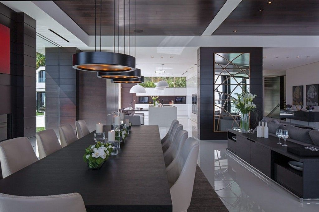 Modern Luxury Open Plan Dining Area Design With Modern Dining Table Febo  Dining Chairs And Contemporary