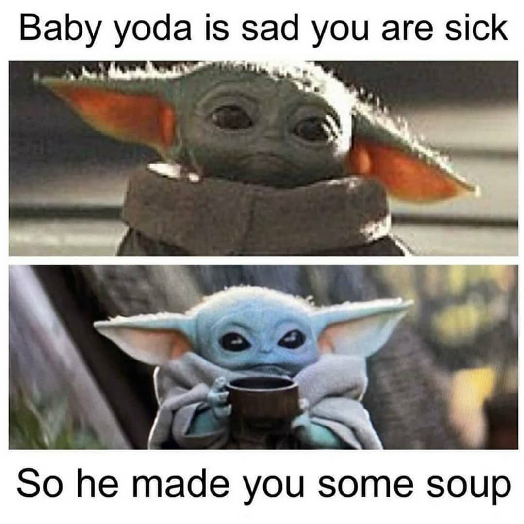 Lorra Star Wars On Instagram Thats What Ive Been Doing Sippin On Bone Broth Babyyoda Thechild Th Yoda Funny Yoda Meme Star Wars Memes