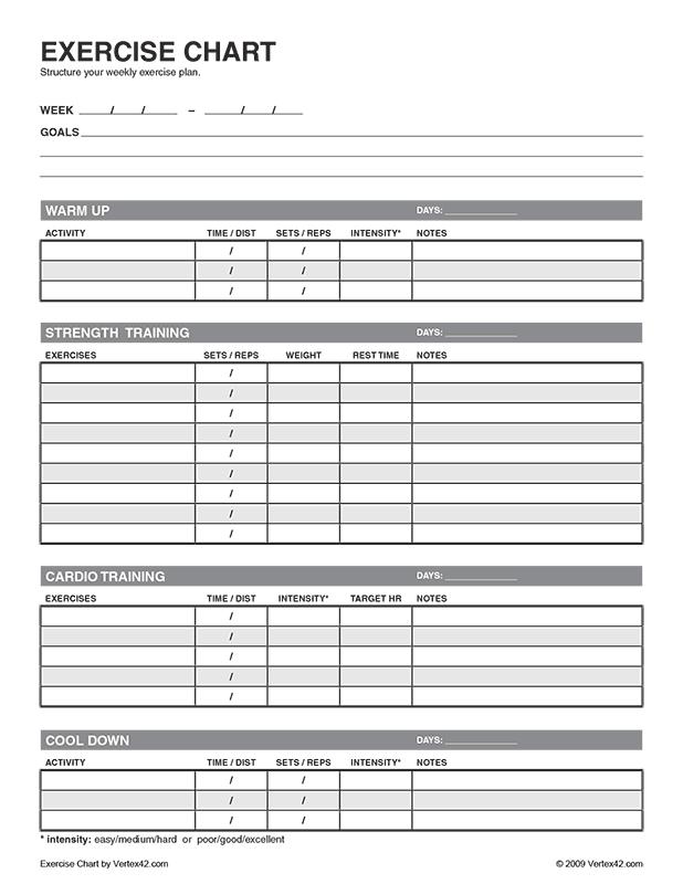 Free printable exercise chart pdf from vertex also  healthier rh pinterest