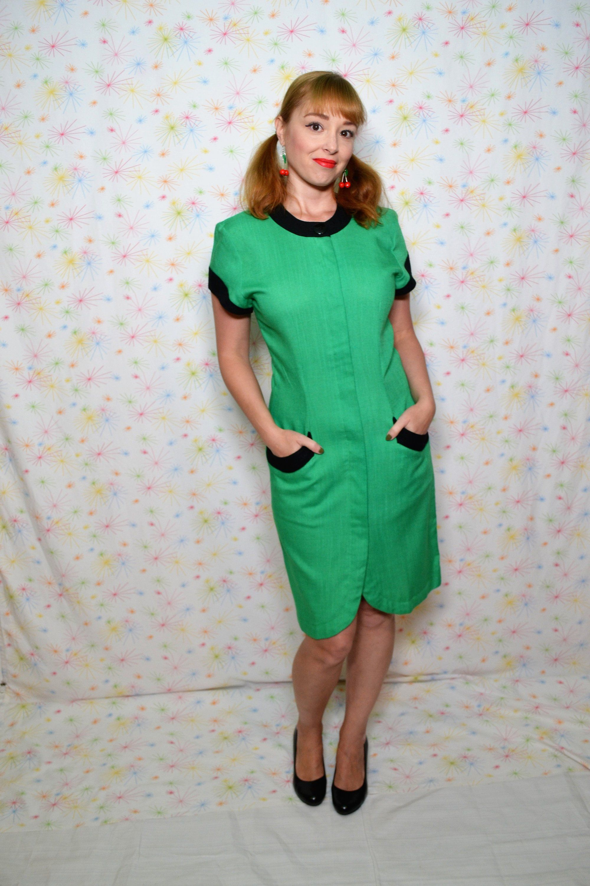 S green sheath dress small vintage s mod style clothing s