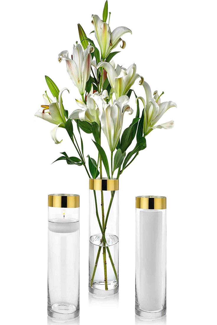 Vases Set Of 3 Glass Cylinder 10 Inch Tall Multi-use Pillar Candle Floating
