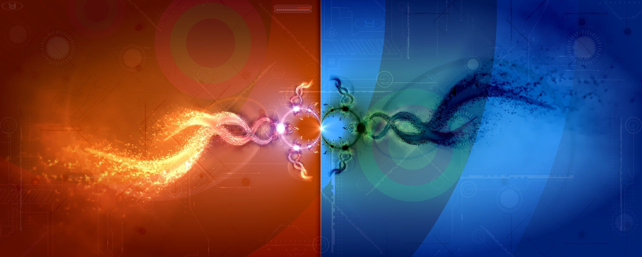 Dual Monitor Widescreen Yellow Pink Green And Blue Painting Widescreen Dual Monitor 2k Wa Dual Screen Wallpaper Dual Monitor Wallpaper Artistic Wallpaper