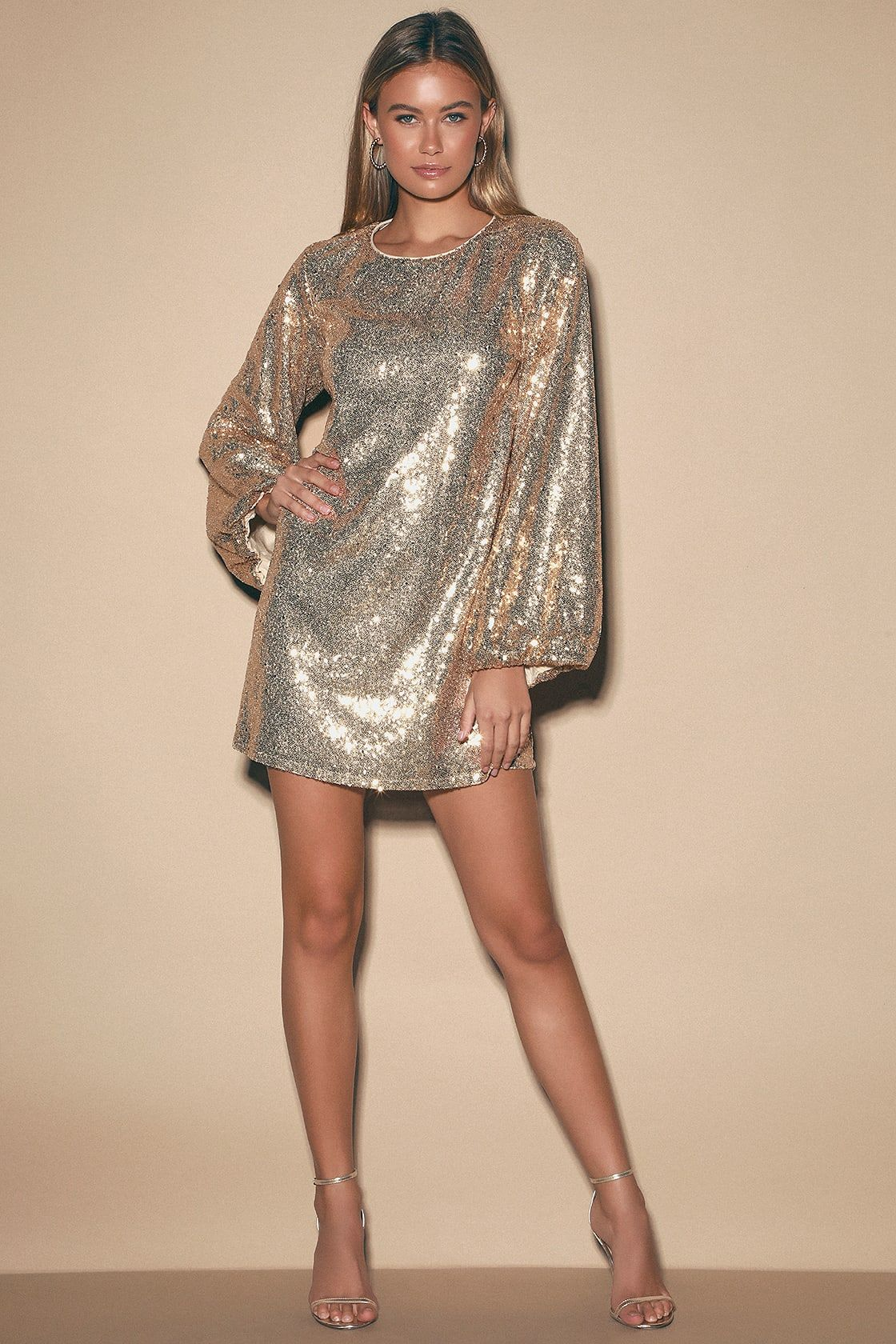 Round Two Gold Sequin Balloon Sleeve Shift Dress Mini Dress With Sleeves Shift Dress Dresses [ 1680 x 1120 Pixel ]