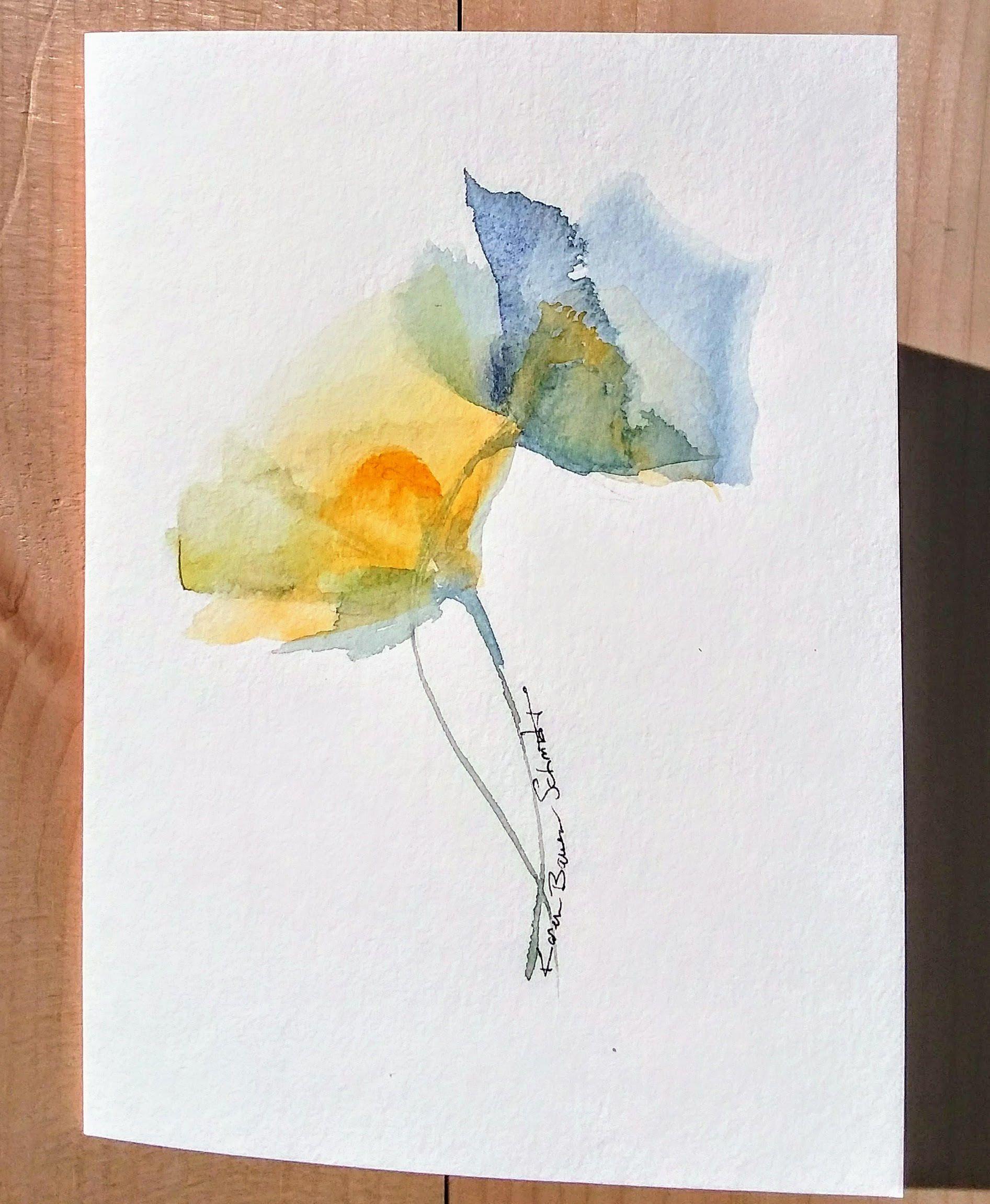 Watercolor Flowers Greeting Card Handpainted Original Signed 5x7