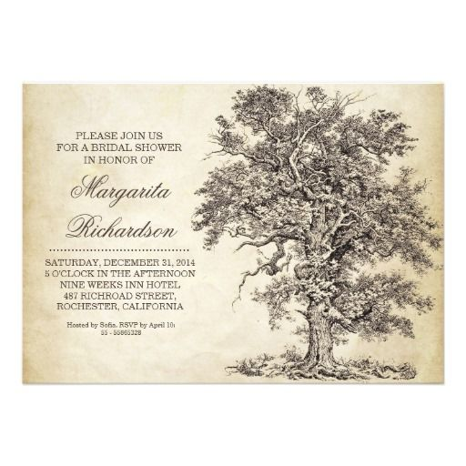 """unique vintage bridal shower invitations. With antique old oak tree and aged paper background. I suggest the """"Linen"""" or """"Felt"""" paper for this design. If you need more additional products (like rsvp, reception, letterheads, wedding stickers etc), please contact me. If you like my style, please go to my store and see a lot of unique designs."""