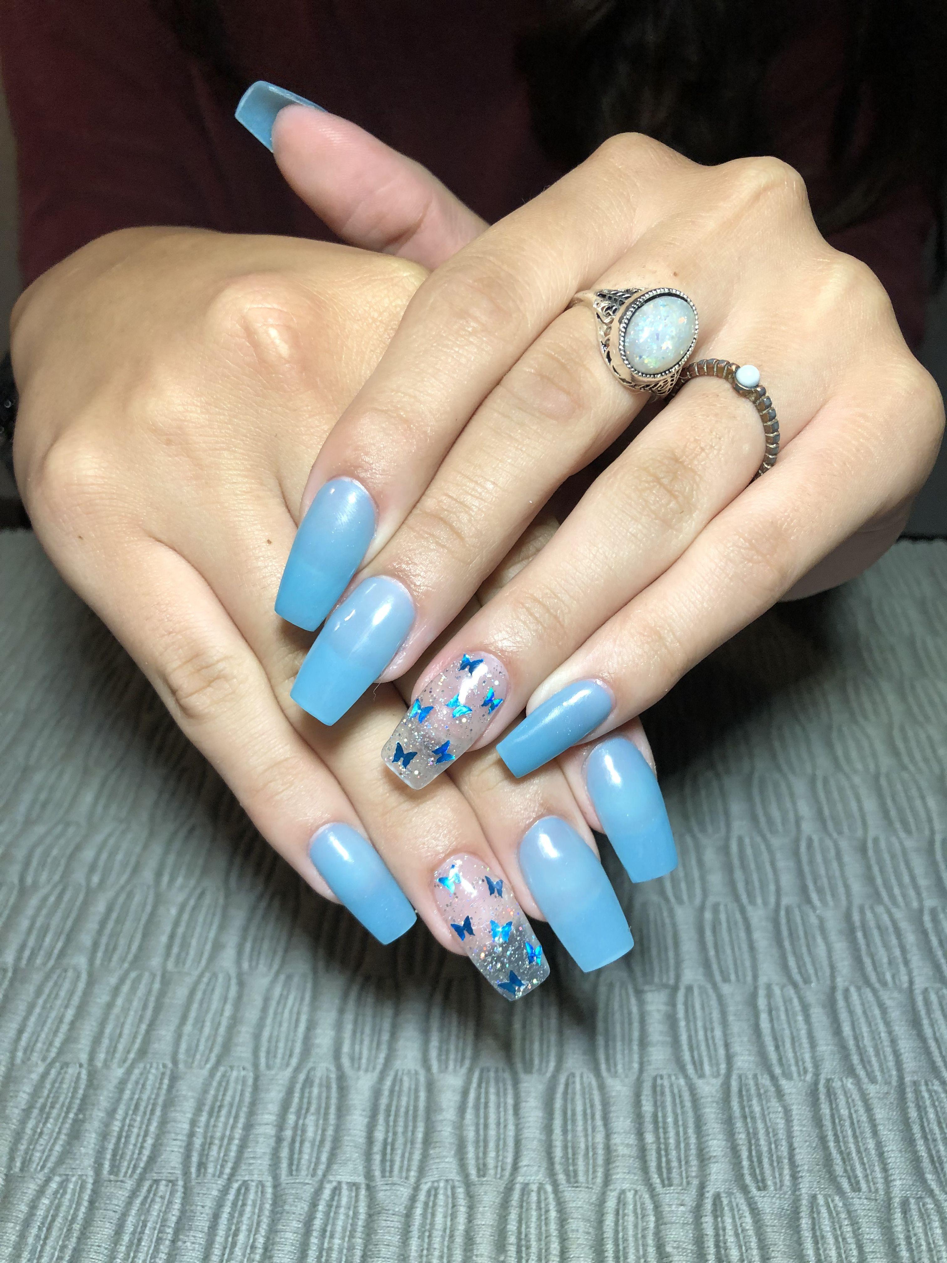 Blue Butterfly Acrylic Nails Blue Acrylic Nails Purple Acrylic Nails Short Square Acrylic Nails